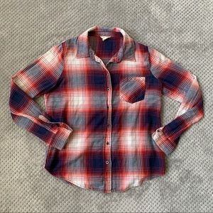 Red White Blue Plaid Button Shirt Size Small